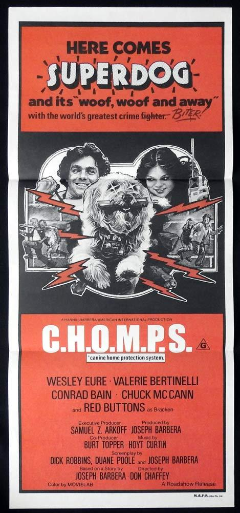 C.H.O.M.P.S. Daybill Movie poster Wesley Eure Robot Dog Chomps