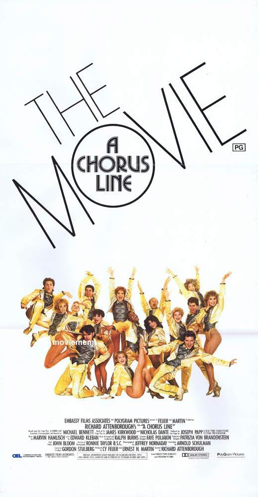 A CHORUS LINE Original Daybill Movie Poster Michael Douglas Terrence Mann Michael Blevins
