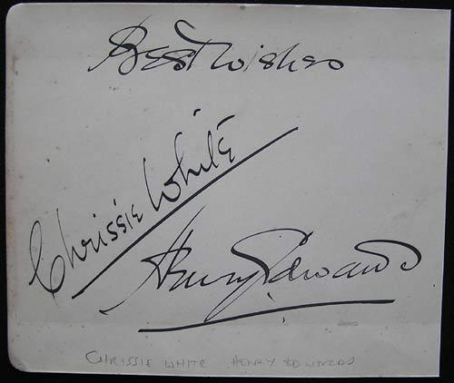 CHRISSIE WHITE and HENRY EDWARDS Autograph on an Album Page