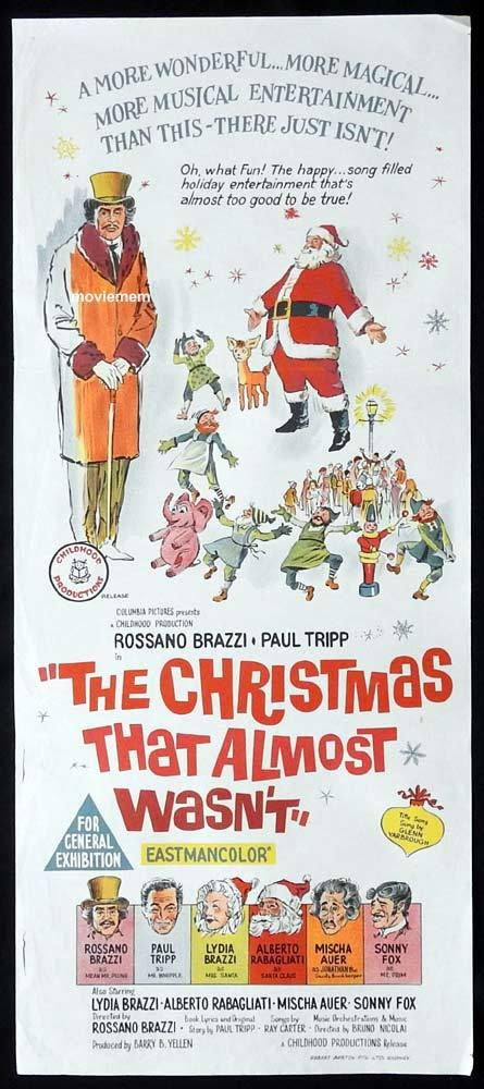 THE CHRISTMAS THAT ALMOST WASNT Original Daybill Movie Poster Paul Tripp Lydia Brazzi