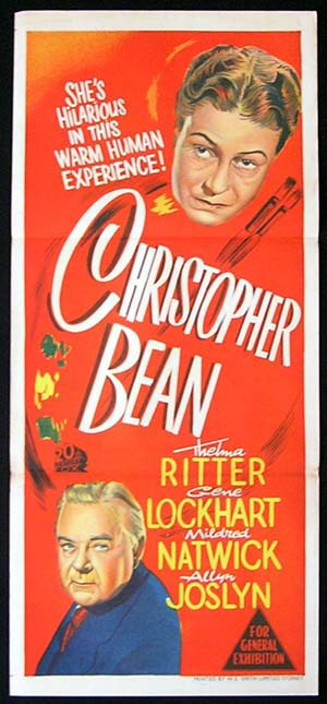 CHRISTOPHER BEAN Daybill Movie poster Thelma Ritter RARE poster