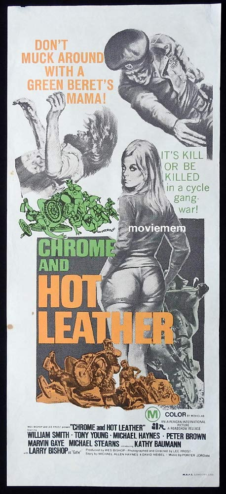 CHROME AND HOT LEATHER Original Daybill Movie Poster William Smith Motorcycle Biker