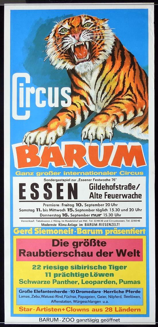 CIRCUS BARNUM Original Poster ESSEN c.1990s TIGER art