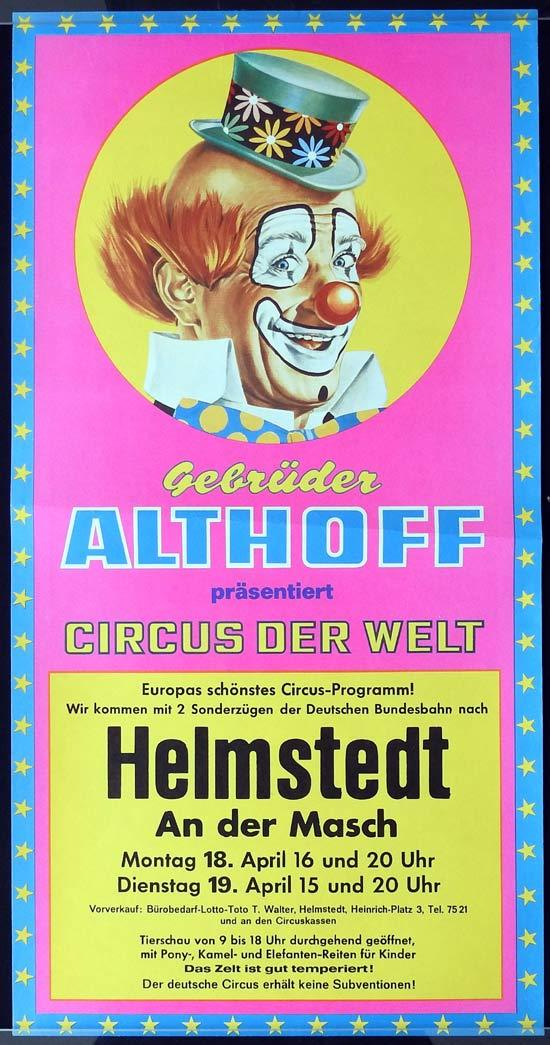 GEBRUDER ALTHOFF Original Poster CLOWN ART Helmstedt