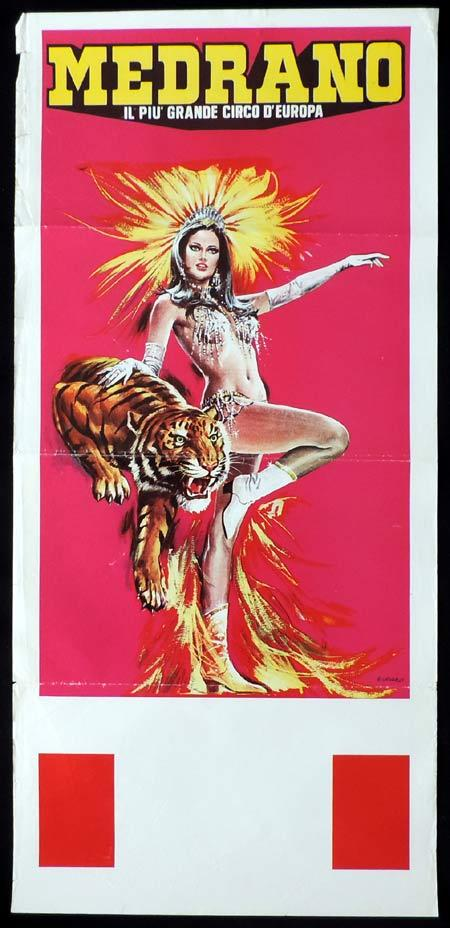 MEDRANO CIRCUS Italian Locandina Movie Poster 1970s Tiger art