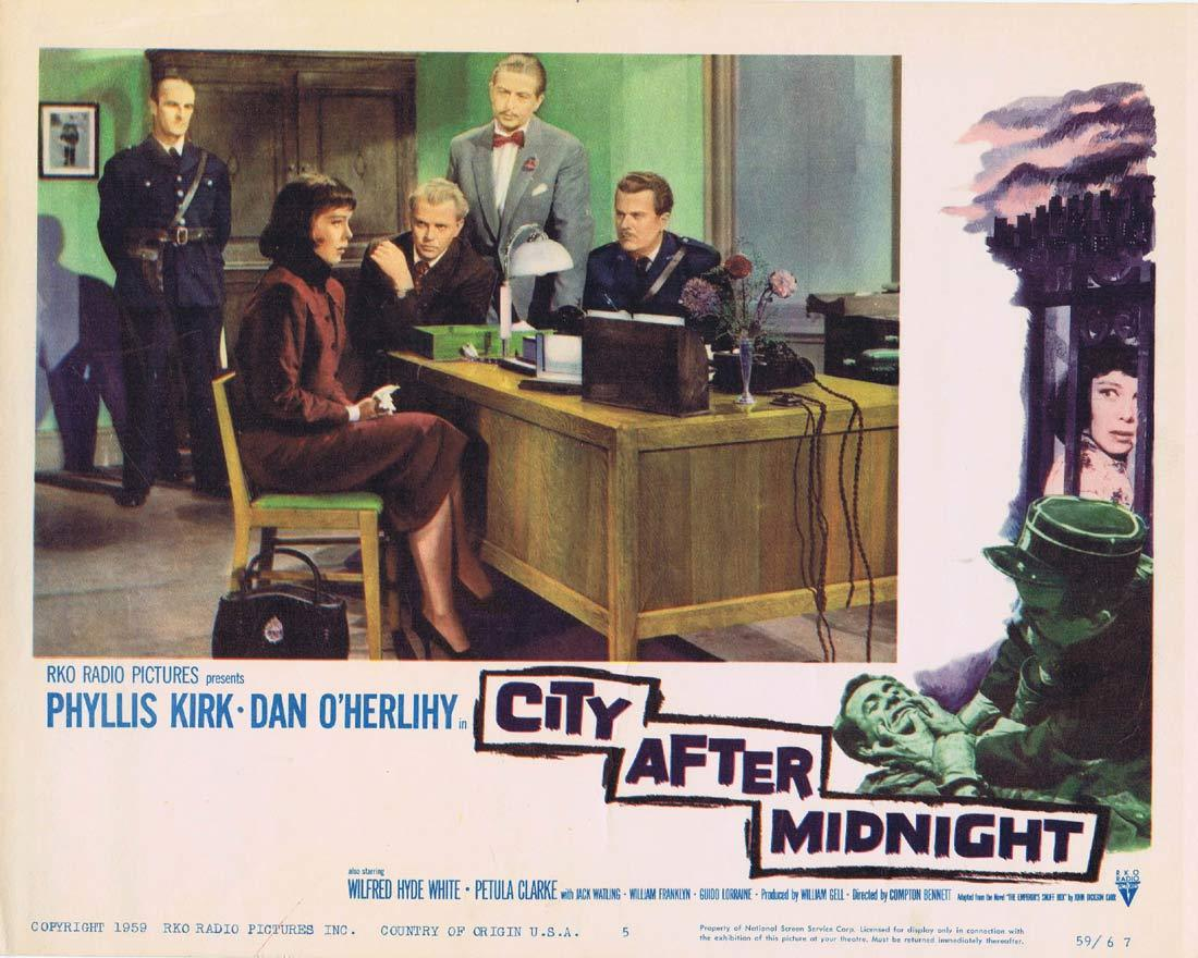 CITY AFTER MIDNIGHT Original Lobby Card 5 Phyllis Kirk Dan O'Herlihy William Franklyn