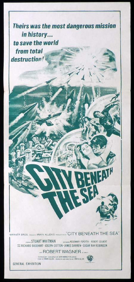 CITY BENEATH THE SEA Original daybill Movie poster Stuart Whitman Sci FI