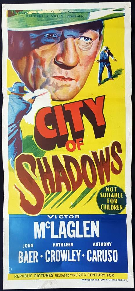 CITY OF SHADOWS Original Daybill Movie Poster Victor McLaglen Film Noir