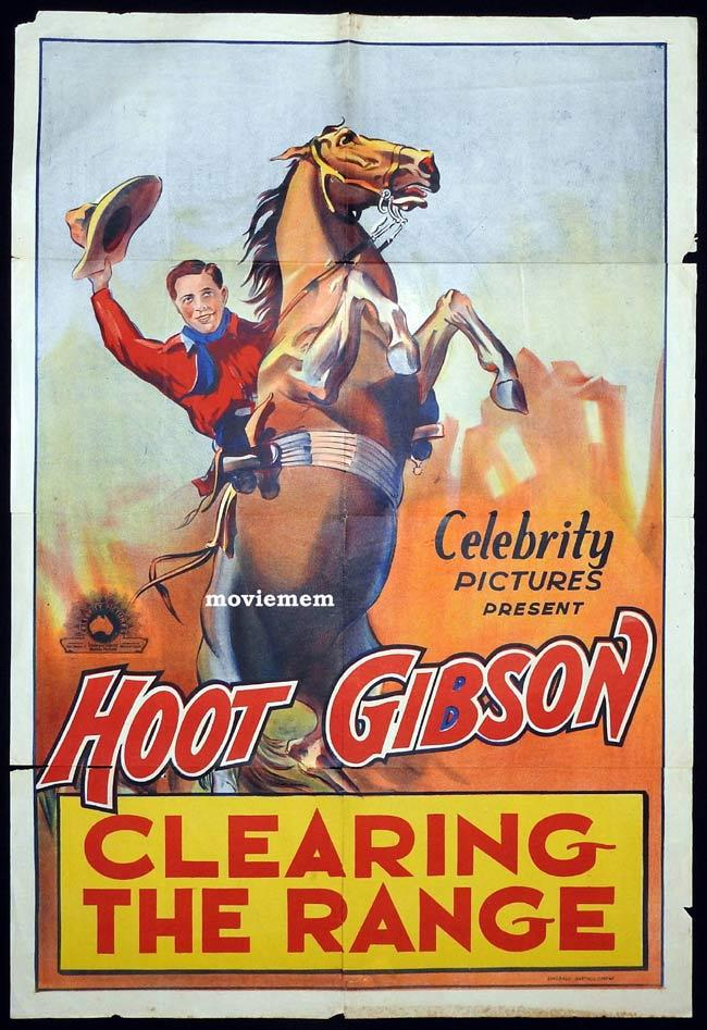 CLEARING THE RANGE Original One sheet Movie Poster HOOT GIBSON 1931