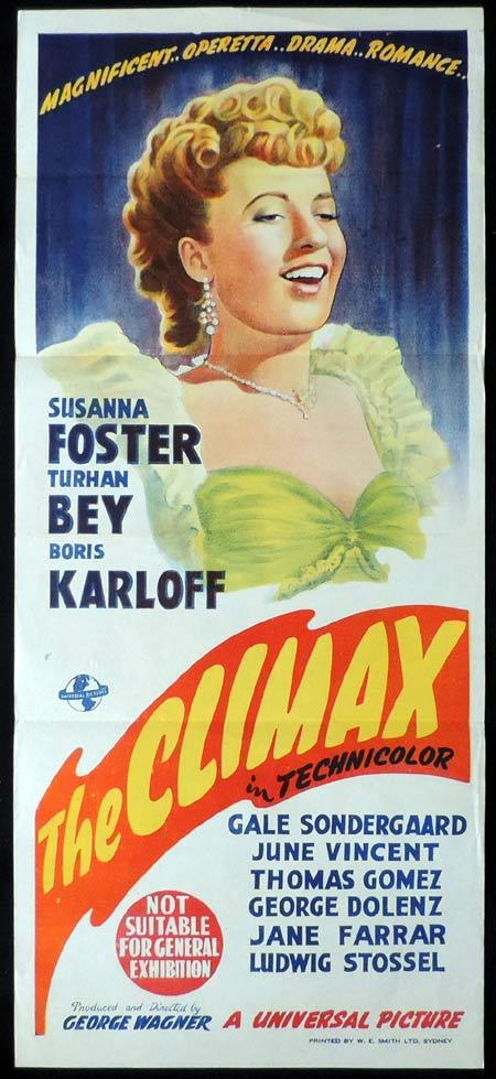 THE CLIMAX Daybill Movie Poster 1944 Universal Horror BORIS KARLOFF Horror