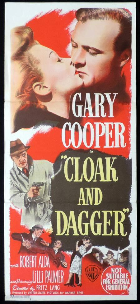 CLOAK AND DAGGER Original Daybill Movie Poster Gary Cooper Fritz Lang