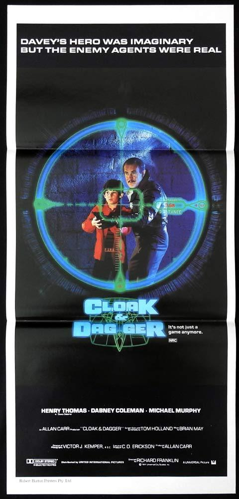 CLOAK AND DAGGER Daybill Movie Poster Henry Thomas Dabney Coleman Michael Murphy