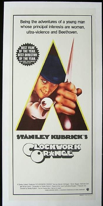 A CLOCKWORK ORANGE Daybill Movie poster LINEN BACKED