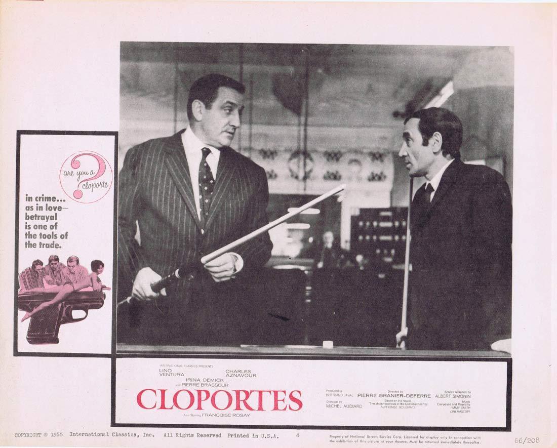 CLOPORTES Original Lobby Card 8 Lino Ventura Charles Aznavou