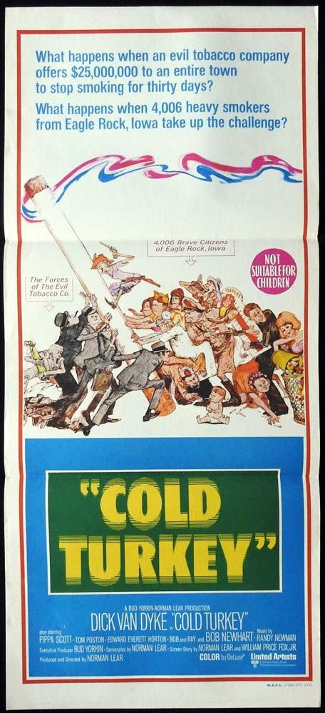 COLD TURKEY Original Daybill Movie Poster Dick Van Dyke No Smoking