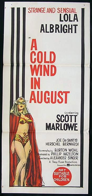 A COLD WIND IN AUGUST Daybill Movie Poster 1961 Lola Albright Australian Daybill