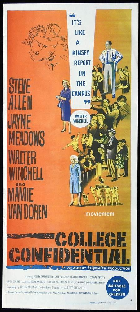 COLLEGE CONFIDENTIAL Original Daybill Movie Poster Steve Allen Jayne Meadows