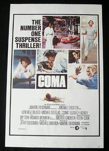 COMA Original One sheet Movie poster Michael Douglas Genevieve Bujold