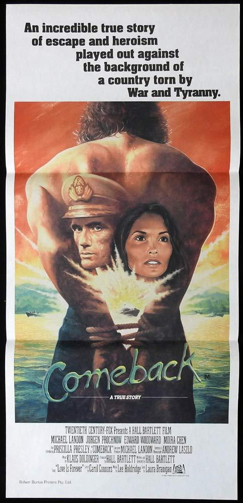 COMEBACK aka LOVE IS FOREVER Daybill Movie Poster Michael Landon Edward Woodward