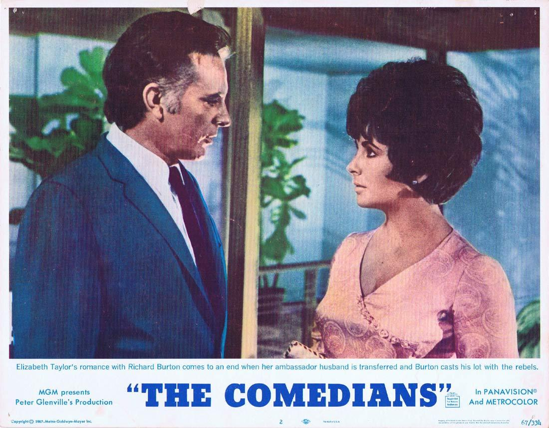 THE COMEDIANS Original Lobby Card 2 Elizabeth Taylor Richard Burton
