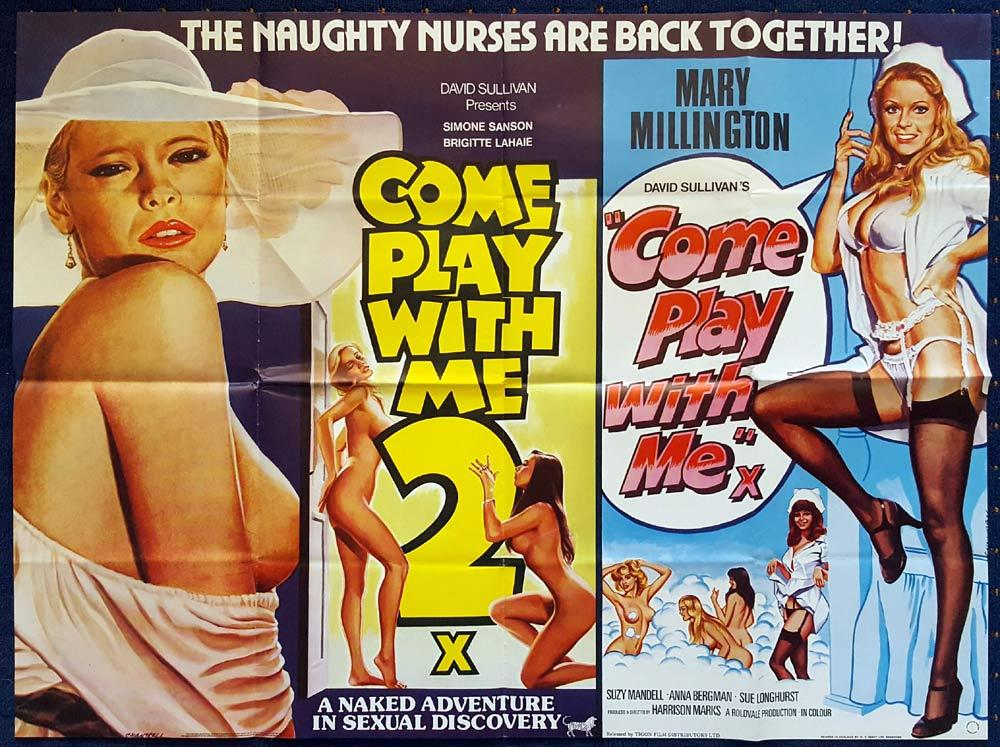 COME PLAY WITH ME 1 and 2 Double Bill MARY MILLINGTON British Quad Movie poster