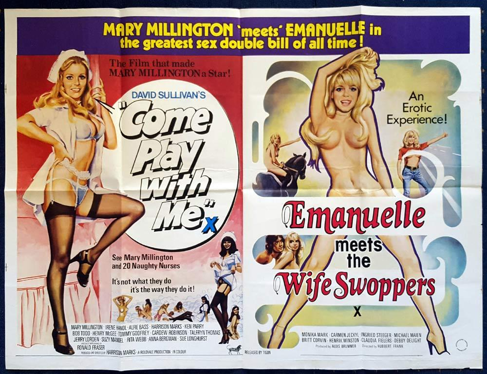 COME PLAY WITH ME EMANUELLE MEETS THE WIFE SWAPPERS Double Bill MARY MILLINGTON British Quad Movie poster