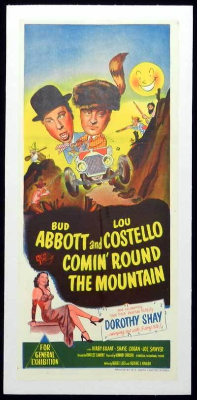 COMIN ROUND THE MOUNTAIN Daybill Movie poster 1951 Linen Backed Abbott and Costello