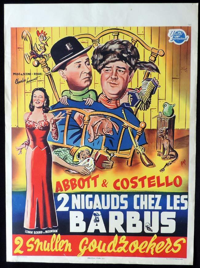 COMIN ROUND THE MOUNTAIN Original Belgian Movie poster Abbott and Costello