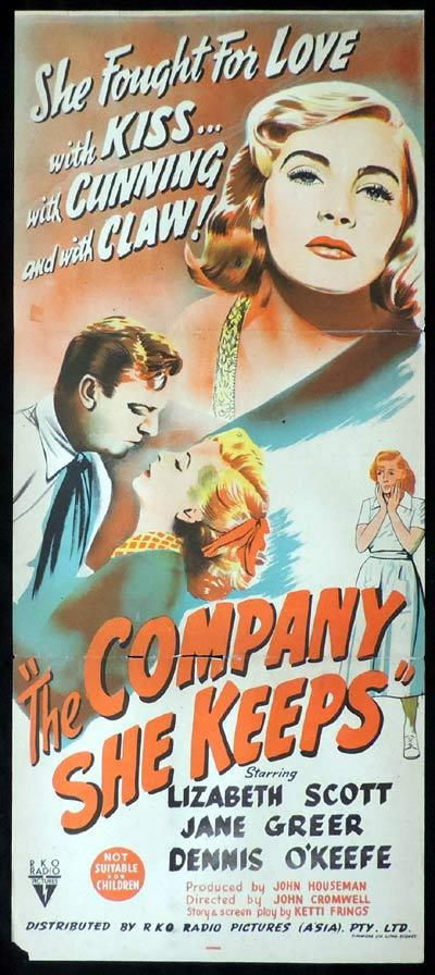 THE COMPANY SHE KEEPS Daybill Movie Poster 1951 Lizabeth Scott RKO Film Noir