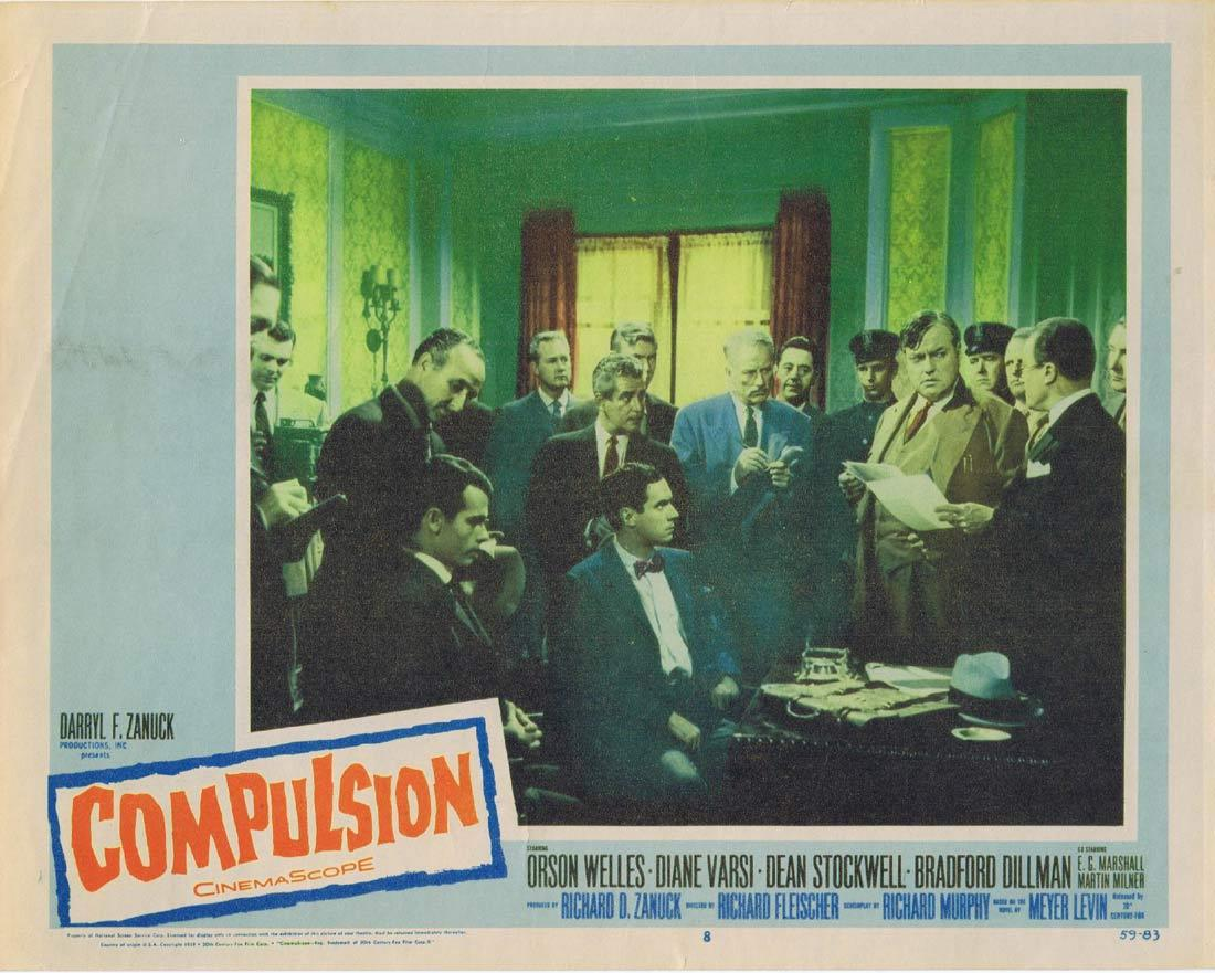 COMPULSION Lobby Card 8 Orson Welles Diane Varsi Dean Stockwell