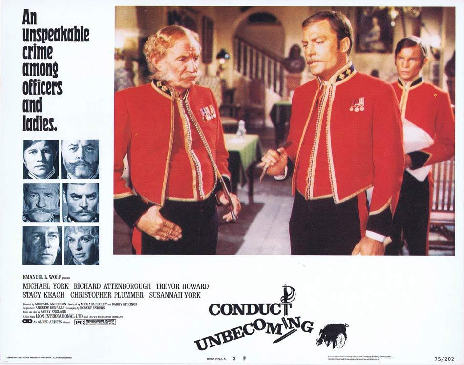 CONDUCT UNBECOMING Lobby Card 3 Michael York Richard Attenborough Trevor Howard