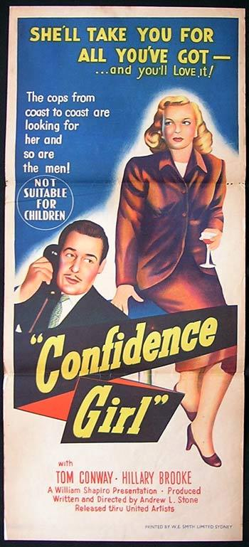 CONFIDENCE GIRL Movie Poster 1952 Tom Conway FILM NOIR daybill