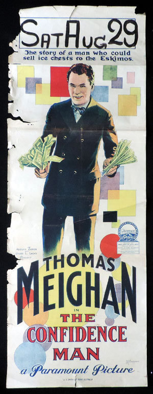 THE CONFIDENCE MAN Long Daybill Movie poster 1924 JOHN RICHARDSON signature