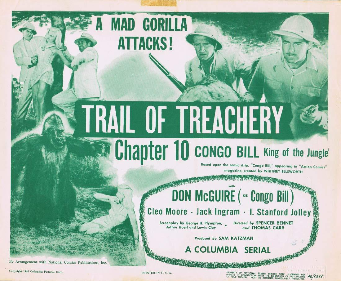 CONGO BILL KING OF THE JUNGLE Original Lobby Card Chapter 10 Columbia Serial Mad Gorilla