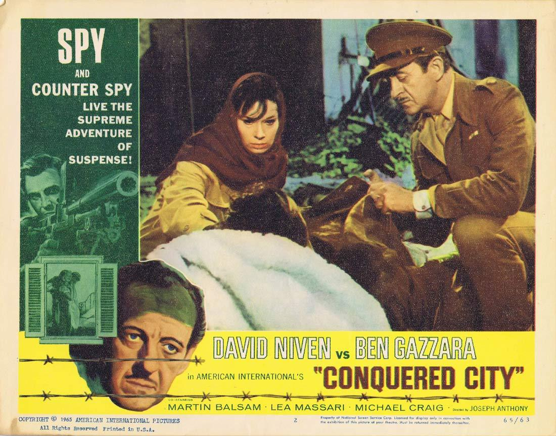 CONQUERED CITY Original Lobby Card 2 David Niven Ben Gazarra
