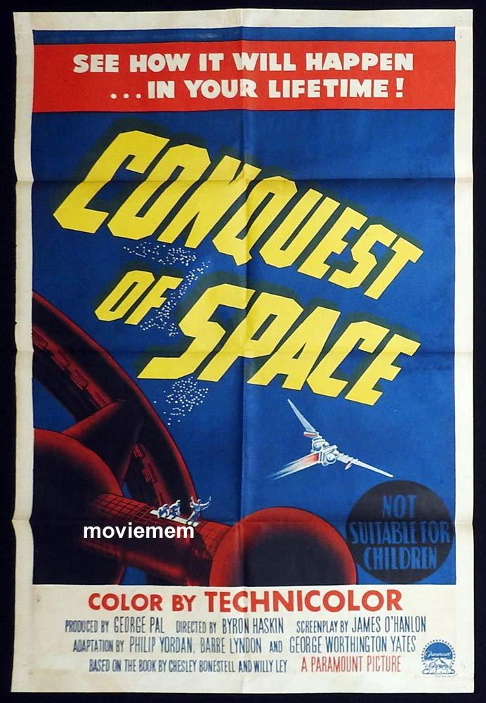 CONQUEST OF SPACE Original One sheet Movie Poster Walter Brooke Sci Fi Byron Haskin