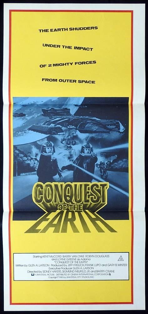 CONQUEST OF THE EARTH daybill Movie poster Battlestar Galactica
