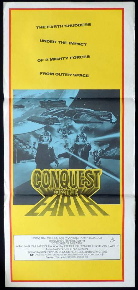 CONQUEST OF THE EARTH Original daybill Movie poster Kent McCord Sci FI