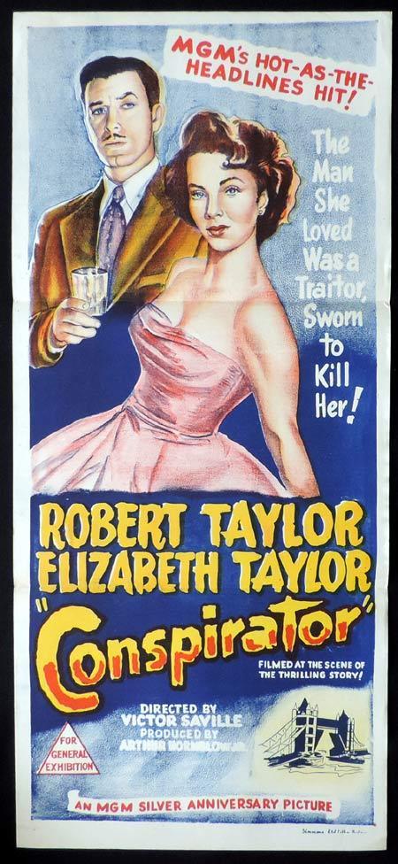 CONSPIRATOR Original Daybill Movie Poster Robert Taylor Elizabeth Taylor