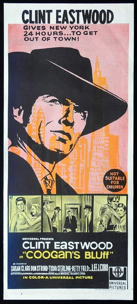 COOGAN'S BLUFF Original Daybill Movie Poster Clint Eastwood Lee J. Cobb