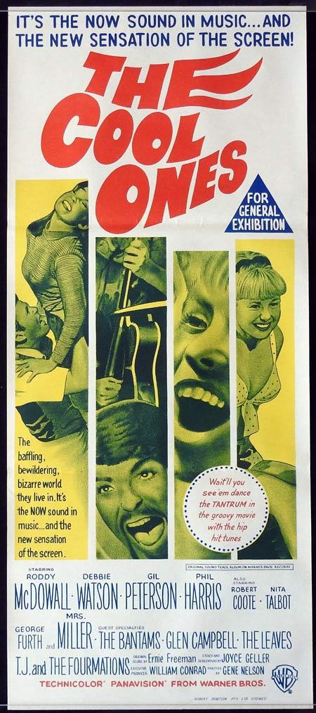 THE COOL ONES Original daybill Movie Poster Roddy McDowall Debbie Watson