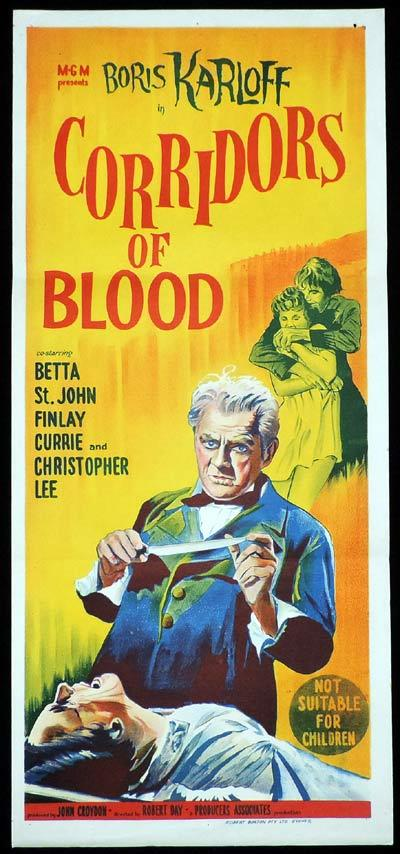 CORRIDORS OF BLOOD Original Daybill Movie Poster Boris Karloff Christopher Lee
