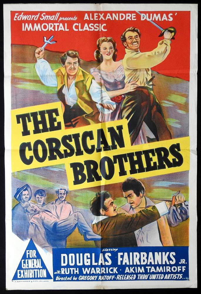 THE CORSICAN BROTHERS Original One sheet Movie Poster Douglas Fairbanks Jr 1947r