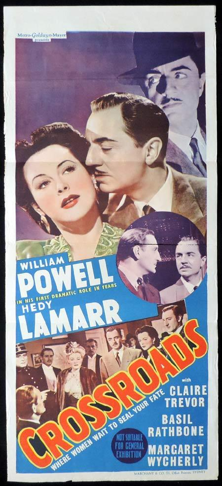 CROSSROADS Original Daybill Movie Poster WILLIAM POWELL Hedy Lamarr Film Noir