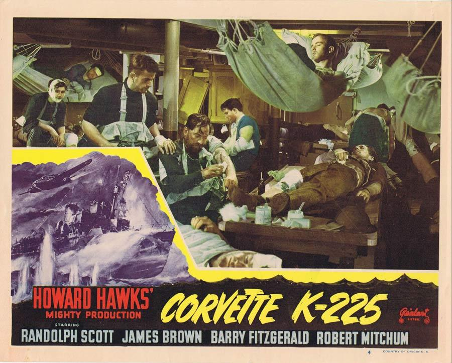 CORVETTE K-225 Lobby Card 4 War Film Randolph Scott Robert Mitchum