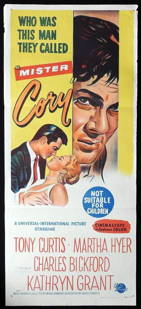 MISTER CORY Original Daybill Movie poster Tony Curtis Martha Hyer