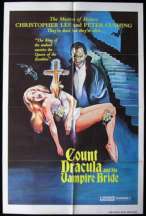 COUNT DRACULA AND HIS VAMPIRE BRIDE aka Satanic Rites of Dracula (1974)-Christopher Lee-Peter Cushing HAMMER 1sh poster