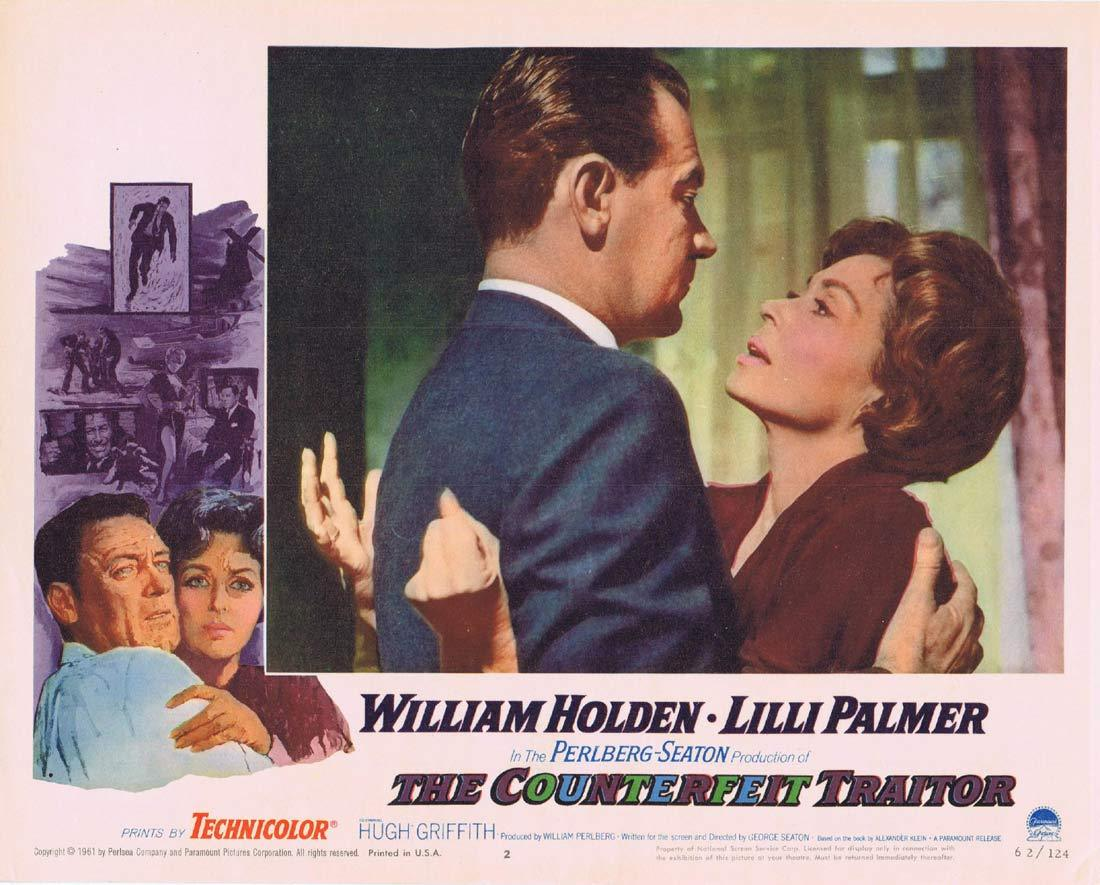 THE COUNTERFEIT TRAITOR Original Lobby Card 2 William Holden Lilli Palmer
