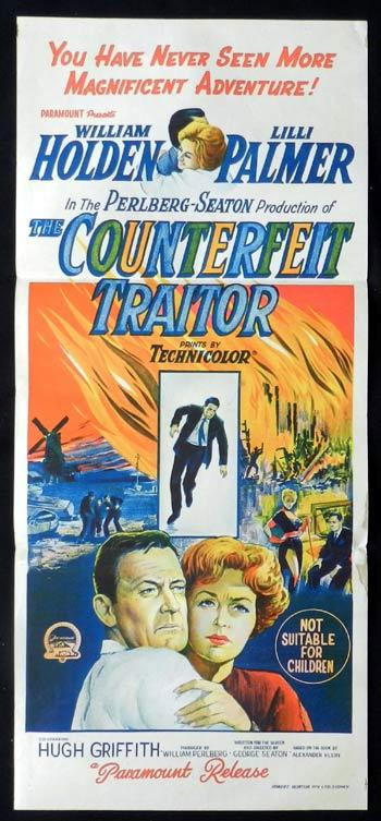 COUNTERFEIT TRAITOR Original Daybill Movie Poster William Holden Lilli Palmer