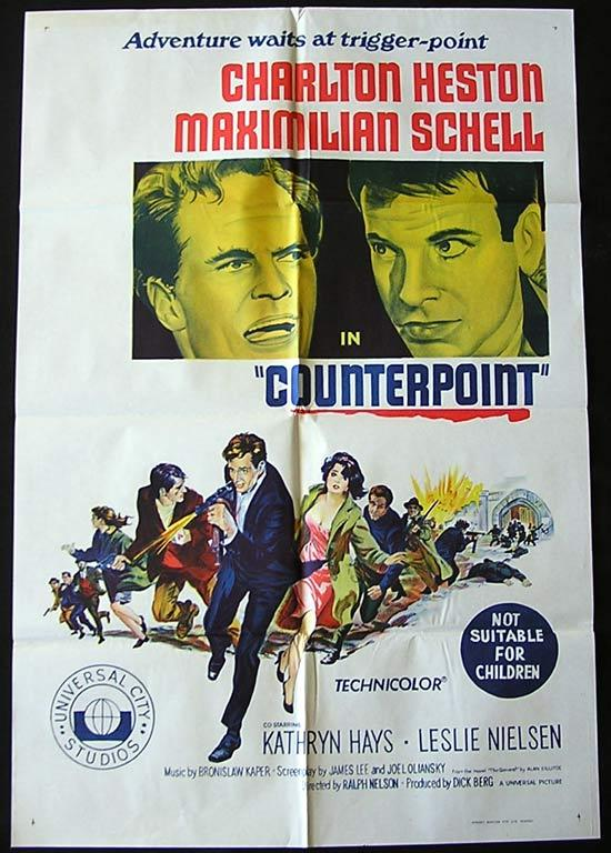 COUNTERPOINT Original One sheet Movie poster Charlton Heston